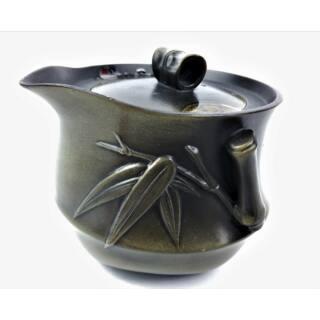 Tradicionális porcelán teázós szett - Olajzöld bambuszos teás szett