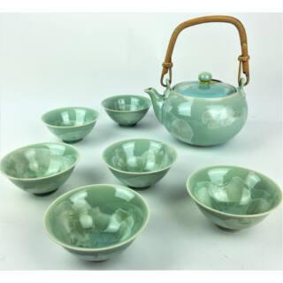 Tradicionális porcelán teázós szett - Mentazöld alapon zöld levélmintás szett