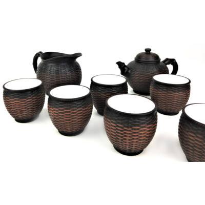 Tradicionális porcelán teázós szett - Fonott kosármintás barna teás szett