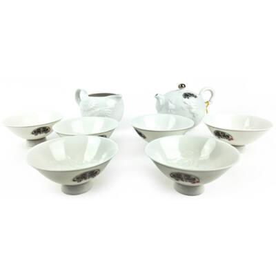 Tradicionális porcelán teázós szett - Sárkány és főnixmadár dombormintás fehér színű teás szett
