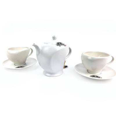 Tradicionális porcelán teázós szett - Fehér matt/opálos szett